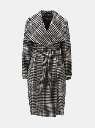 Čierno–biely károvaný dlhý kabát Miss Selfridge