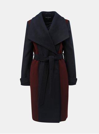 Vínovo–modrý dlhý kabát Miss Selfridge