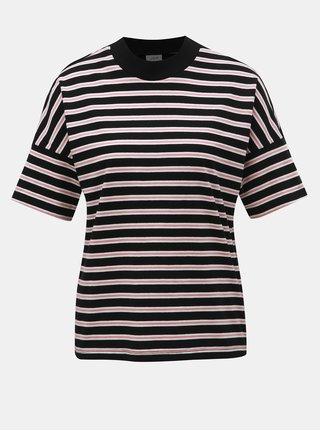 Růžovo-černé pruhované tričko Jacqueline de Yong Maike