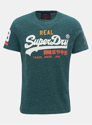 Zelené pánske melírované tričko s potlačou Superdry