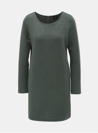 Zelené mikinové rebrované šaty s dlhým rukávom ONLY Naomi