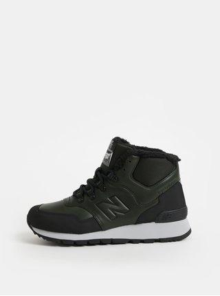 Pantofi sport inalti barbatesti negru-verde din piele de iarna cu blana artificiala interioara New Balance