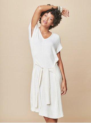 Krémové svetrové šaty so zaväzovaním touch me. f95bebfad69