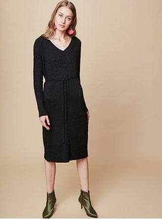 Čierne svetrové šaty s véčkovým výstrihom a zaväzovaním touch me.