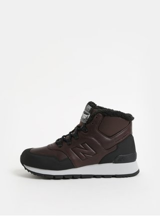 Černo-hnědé pánské kožené kotníkové zimní tenisky s umělým kožíškem New Balance