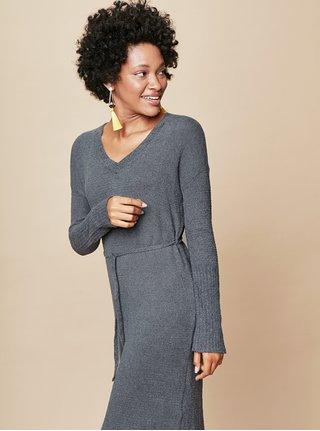 Šedé svetrové šaty s véčkovým výstřihem a zavazováním touch me.