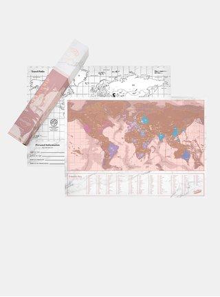 Růžová stírací mapa Luckies Travel