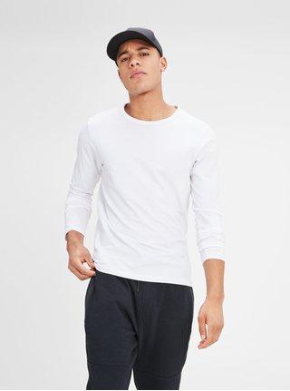 Bílé tričko s dlouhým rukávem Jack & Jones Basic