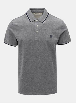 Tmavě modré polo tričko s drobným vzorem Selected Homme Twist