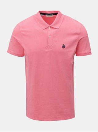 Růžové polo tričko s výšivkou Selected Homme Haro
