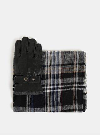 Sada šály a kožených rukavic v černé barvě v dárkové krabičce Portland