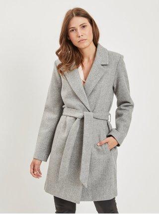 Šedý žíhaný kabát s příměsí vlny VILA c6a74916fb