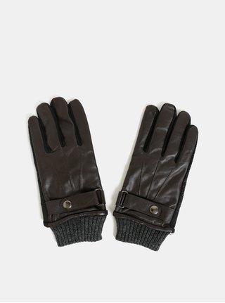Hnědé dotykové rukavice s koženou horní částí v dárkové krabičce Portland