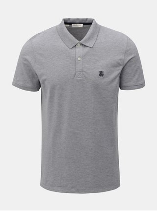 Šedé žíhané polo tričko s výšivkou Selected Homme Haro