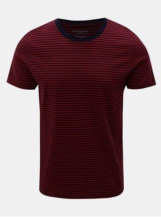 Modro-červené pruhované basic tričko s krátkým rukávem Selected Homme Perfect