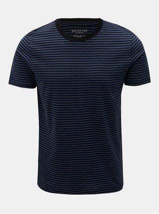 Černo-modré pruhované basic tričko s krátkým rukávem Selected Homme Perfect