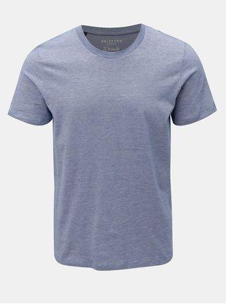 Modré žíhané tričko s krátkým rukávem Selected Homme Perfect