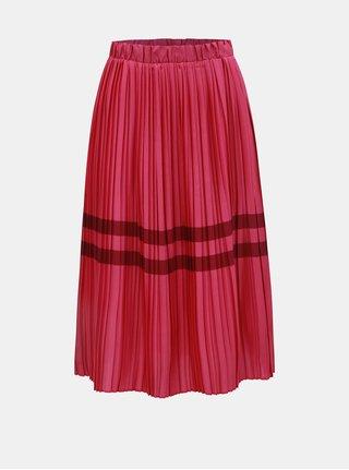 Tmavoružová plisovaná sukňa s pruhmi VERO MODA Niti