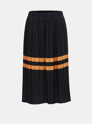 Tmavě modrá plisovaná sukně s pruhy VERO MODA Niti