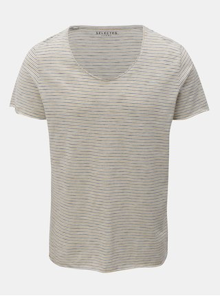 Žlto–krémové pruhované tričko s krátkym rukávom Selected Homme Merce