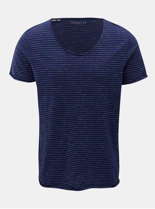 Tmavě modré pruhované tričko Selected Homme Merce