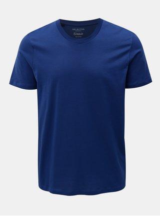 Tmavě modré basic tričko s krátkým rukávem Selected Homme Perfect