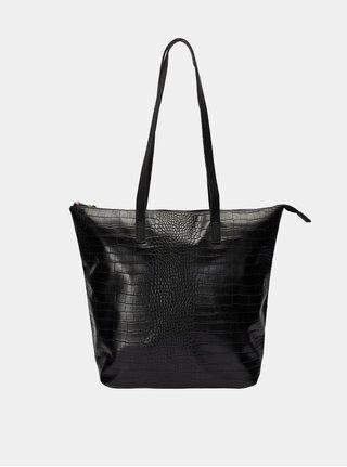 Černý koženkový shopper se zvířecím vzorem VERO MODA Kiwa