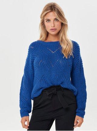 Modrý volný svetr s dlouhým rukávem ONLY Havana
