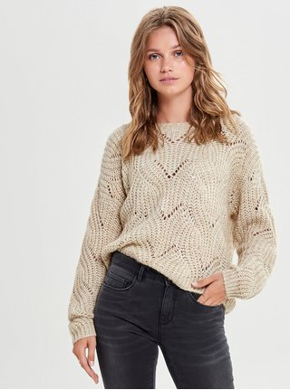Béžový voľný sveter s dlhým rukávom ONLY Havana
