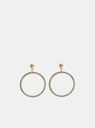 Kruhové visiace náušnice v zlatej farbe s kamienkami Pieces Lexi