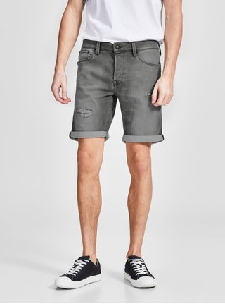 Pantaloni scurti din denim regular fit gri cu aspect prespalat si deteriorat - Jack & Jones Rick