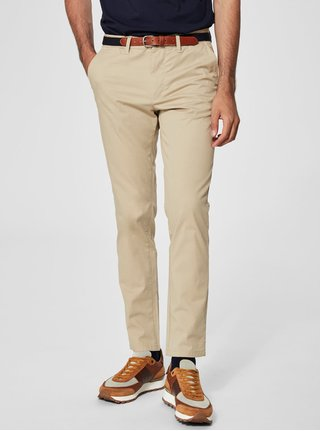 Béžové slim fit chino nohavice Selected Homme Yard