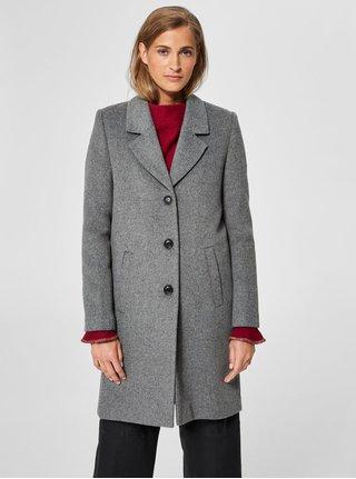 Šedý vlněný kabát Selected Femme Sasja