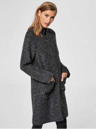 Šedý žíhaný kabát s příměsí vlny Selected Femme Nashwill
