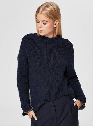 Pulover albastru cu amestec de lana Selected Femme Regina