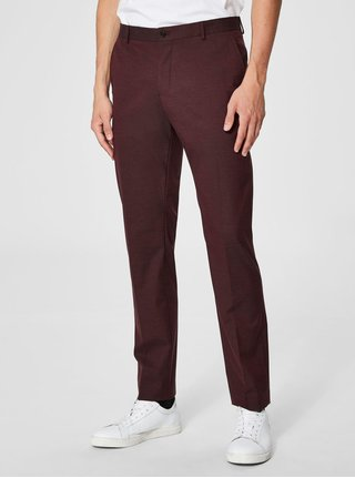 Vínové oblekové kalhoty Selected Homme
