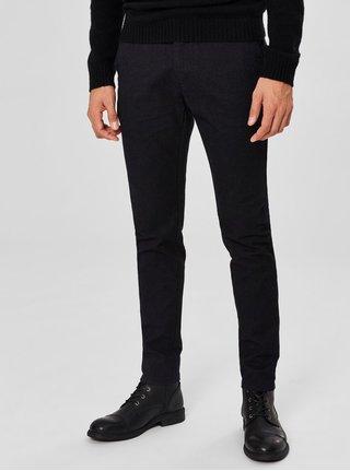 Čierne melírované slim fit nohavice Selected Homme