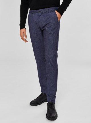 Modré žíhané slim fit kalhoty Selected Homme