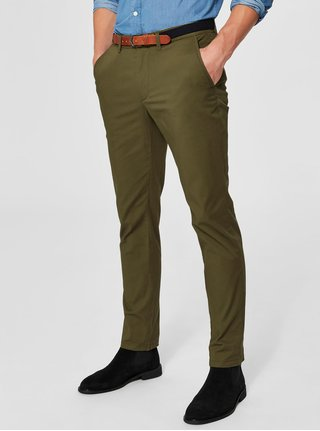 Khaki slim fit chino kalhoty s páskem Selected Homme