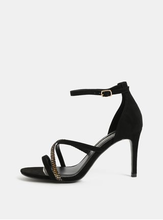 Sandale negre cu aspect de piele intoarsa si toc cui Dorothy Perkins
