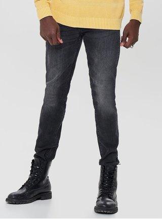 Tmavě šedé slim džíny s vyšisovaným efektem ONLY & SONS Loom