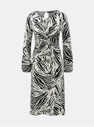 Černo-bílé vzorované šaty s řasením na břiše Dorothy Perkins