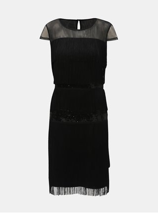 Rochie neagra cu franjuri si paiete Lily & Franc by Dorothy Perkins
