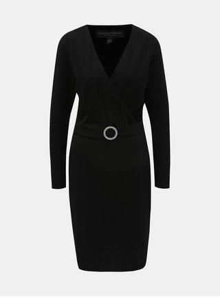 ed784623661 Černé pouzdrové šaty s překládaným výstřihem a páskem Dorothy Perkins Tall