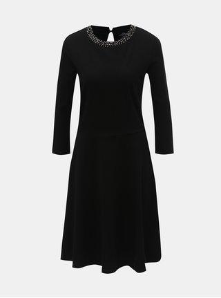 Černé šaty s 3/4 rukávem a zdobeným výstřihem Dorothy Perkins Tall