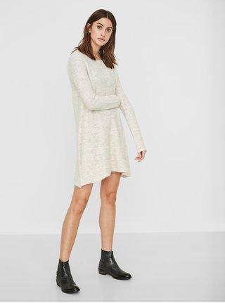 Krémové svetrové šaty s příměsí vlny VERO MODA Ginger