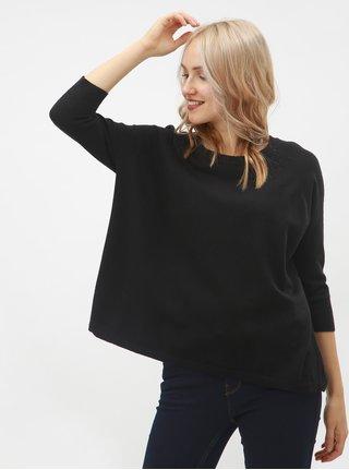 Čierny oversize sveter s 3/4 rukávmi VERO MODA Karis