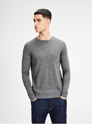 Pulover gri Jack & Jones Premium Mark din jerseu