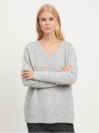 Šedý žíhaný volný svetr s příměsí vlny VILA 90392f50c0