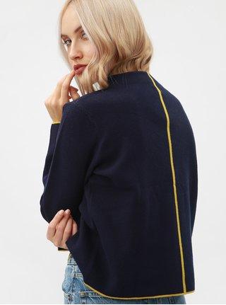 Modrý dámsky voľný sveter s pruhom na chrbte Broadway Mora